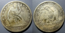 Us Coins - USA - 1877 Seated Liberty Half dollar - Fine or better