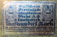 World Coins - very scarce German emergency money printed on aluminum foil - 500 Mark - Lautawerk