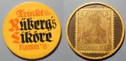 World Coins - German encased postage - Trinkt Ruberg's Likore - 5 pfennig Germania