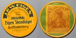 World Coins - German encased postage - briefmarkenkapselgeld - JPW Eigen - 50 pfennig