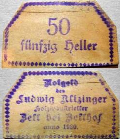 World Coins - 3 rare Austrian wooden notgeld - private issue - Ludwig Allzinger - Zell bei Zellhof