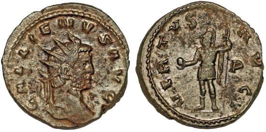 Ancient Coins - Gallienus, 260-268 AD, silvered antoninianus - Mars w globe