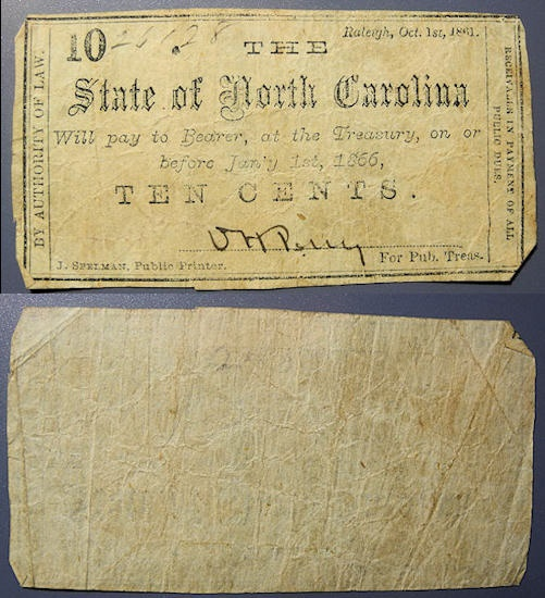 US Coins - Civil War Currency, State of North Carolina - Raleigh, Oct 1st, 1861 - 10 cents