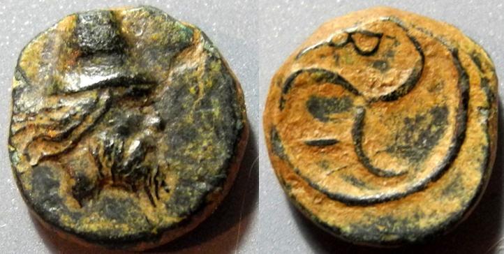 Ancient Coins - Interesting Troas, Birytis, 4th-3rd century BC - Kabeiros / Triskeles - AE10
