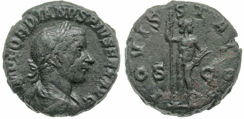 Ancient Coins - Gordian III, 238-244 AD, AE As, Jupiter reverse - scarce denomination