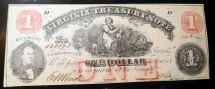 Us Coins - Virginia Treasury Note, 1 dollar - July 21, 1862 - Civil War Era