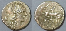 Ancient Coins - Roman Republic denarius - Sextus Pompeius Fostius, 137 BC