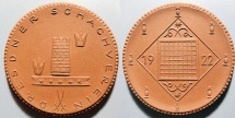 World Coins - German brown porcelain medal - 1922 Dresden Chess competition!!