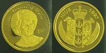 World Coins - Niue 1997 Princess Diana 50 Dollars Gold Proof - 1/10th ounce gold