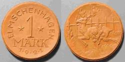 World Coins - scarce German porcelain coin - Elmschenhagen - 1 Mark, uncirculated