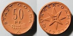 World Coins - German brown porcelain coin, Gotha, 50 pfennig