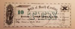 Us Coins - South Carolina Obsolete - 10 Dollars - 1872 - Revenue Bond Scrip - Uncirculated
