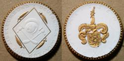 Ancient Coins - GERMAN gold gilded white porcelain medal - GRAVEUR UND ZISELEURBUND - 1922