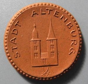 World Coins - German brown porcelain coin, Altenburg 1921, 50 pfennig