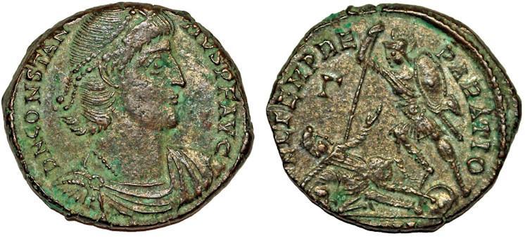 Ancient Coins - Constantius II, 337-361 AD, AE Centenionalis, soldier spearing fallen horseman