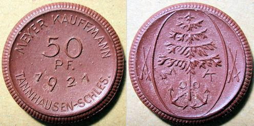 World Coins - German brown porcelain coin, Tannhausen-Schles.  50 pfennig