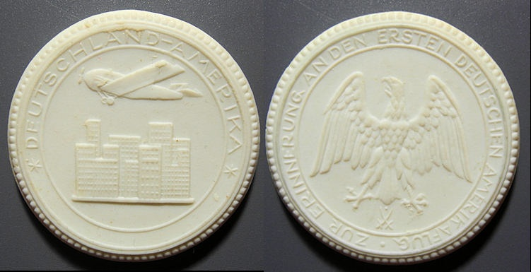 World Coins - German white porcelain medal - First Flight Germany -- America , Dessao