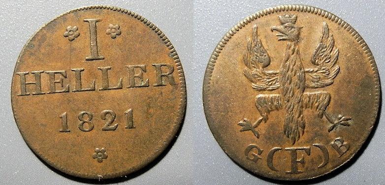 World Coins - German 1 heller, 1821 - Frankfurt - attractive