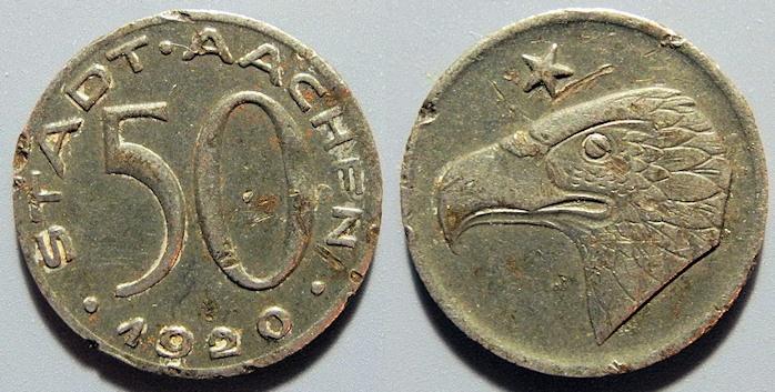 World Coins - German metal notgeld - iron - Stadt Aachen - 50 pfennig