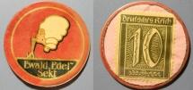 World Coins - German encased postage, scarce, Ewald Edel Sekt, 10 pfennig