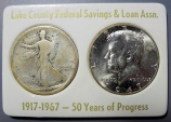 Us Coins - Lake County Federal Savings & Loan Assn, 2 coin half dollar set - 1917 & 1967 - #3