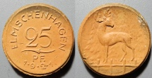 World Coins - scarcer German porcelain coin - Elmschenhagen, 25 pfennig