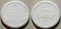 World Coins - German white porcelain medal 1921 Hohere Madchenschule