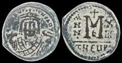 Ancient Coins - Byzantine bronze, Maurice Tiberius, 582-602 AD - AE follis, Antioch mint