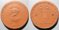 World Coins - German brown porcelain medal - Plauen, 1922, St. Johanniskirchen