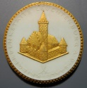 World Coins - German gold gilded white porcelain medal - Leuchtenburg WWI commem