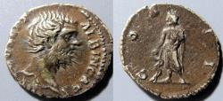 Ancient Coins - Clodius Albinus, as Caesar, AR denarius - Aesculapius reverse