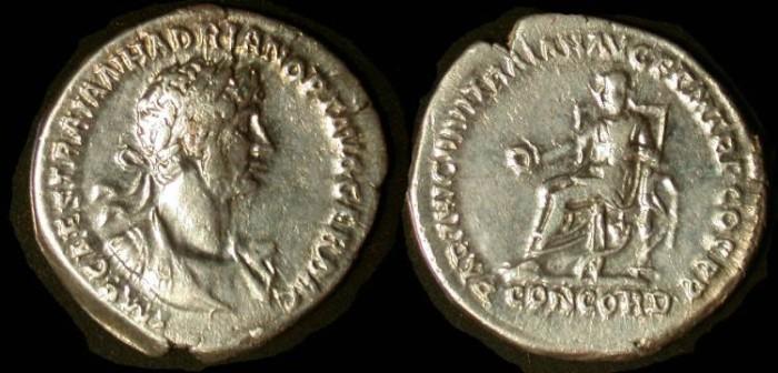 Ancient Coins - Hadrian, 117-138 AD, AR denarius, Concord on throne, VF+