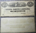 North Carolina Civil War currency - 2 dollars, 1863, uncirculated