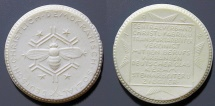 World Coins - German white porcelain medal - bee - Christian Democratic Socialists - 1920s