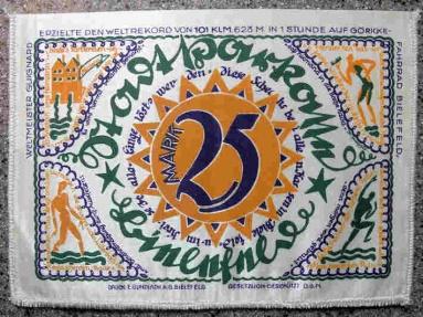 World Coins - German emergency money printed on silk - 25 Mark - green / orange / purple