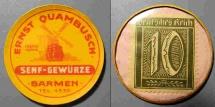 World Coins - German encased postage - Ernst Quambusch, Barmen - 10 pfennig