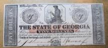 Us Coins - Obsolete currency, State of Georgia, Milledgeville, $5 uncirculated, 1862