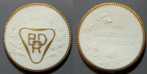World Coins - German white with gold gilding porcelain medal - bicycling achievements