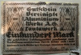 World Coins - Lautawerk aluminum foil notgeld, 100 Mark - flaws