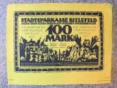 World Coins - scarce German silk notgeld, 100 mark - golden yellow