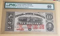Us Coins - Civil War currency, North Carolina (Raleigh) $10 PMG-40