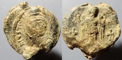Ancient Coins - Byzantine lead seal, Justinian I, 527-565 AD - Angel on reverse
