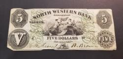 Us Coins - Obsolete US currency - North Wester Bank, in Warren, PA.  $5, dated 1860
