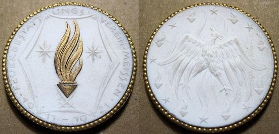 World Coins - German white porcelain medal, gold gilding - fire / eagle