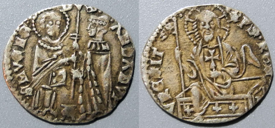 World Coins - Venice, AR mezzanino, Andrea Dandolo, 1342-1354 AD - Christ climbing from coffin!!