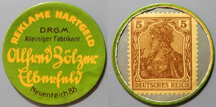 World Coins - German encased postage - Reklame Hartgeld, Alfred Zölzer, Elberfeld - 5 Pfennig