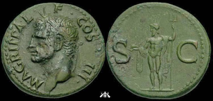 Ancient Coins - Agrippa, died 12 BC, AE As, Neptune reverse, struck under Caligula