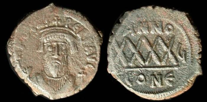 Ancient Coins - Phocas, 602-610 AE 40 Nummi, Constantinople Mint