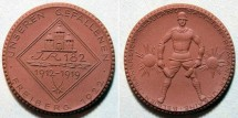 World Coins - German brown porcelain medal - Freiberg, 1922 - battallion commem