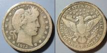 Us Coins - USA - Barber quarter, 1912-P, medium grey toning
